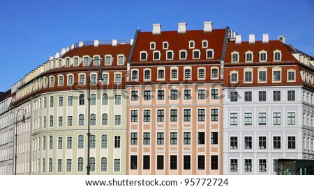 Close-up colourful buildings at Neumarkt square in Dresden, Germany - stock photo