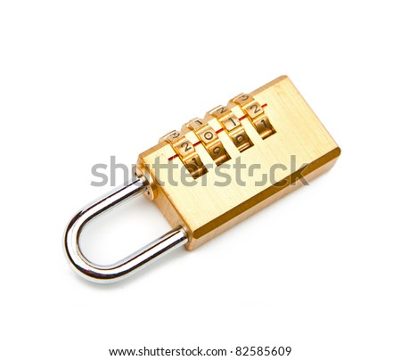 Close-up combination padlock isolated on white background - stock photo