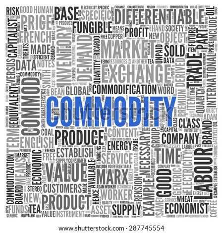 Close up COMMMODITY Text at the Center of Word Tag Cloud on White Background.