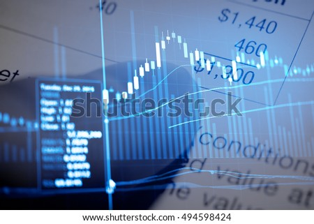 Close-up computer monitor with trading software. Multiple exposure photography. - Wealth management concept.
