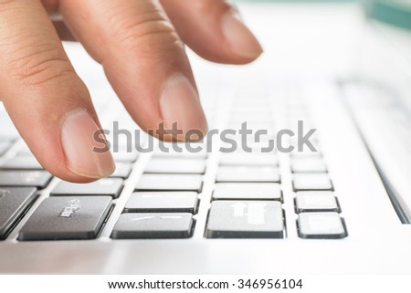 Close-up computer typing