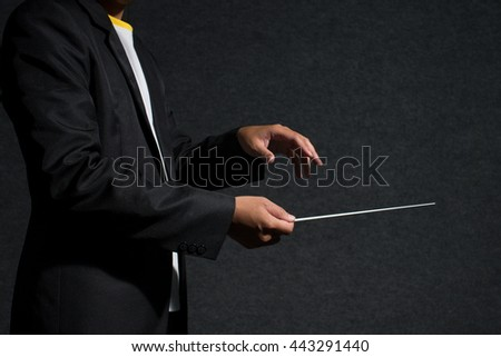 close up conductor in dark