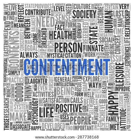Close up CONTENTEMENT Text at the Center of Word Tag Cloud on White Background. - stock photo