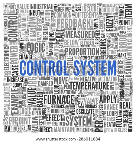 Close up CONTROL SYSTEM Text at the Center of Word Tag Cloud on White Background.