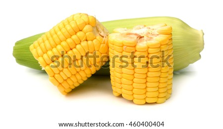 Close-up corn isolated in white