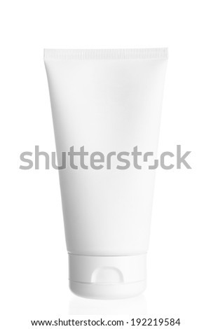 close up cosmetic container on white background - stock photo
