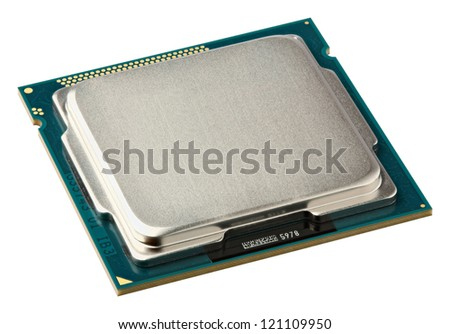 Close up CPU upside isolated on white - stock photo