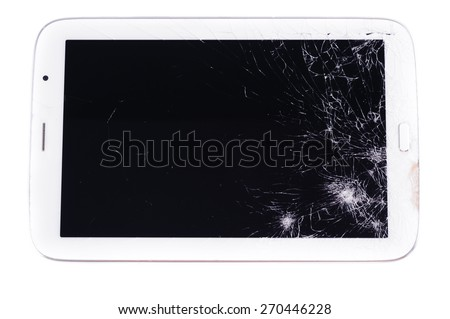 Close up crack table device cause by fall on the floor - stock photo