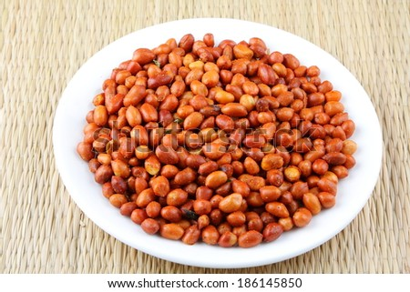 Close up -Crunchy Spicy Peanuts. - stock photo