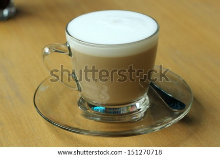 Close up; cup of cappuccino - stock photo