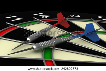 close up 3d render of darts and board - stock photo