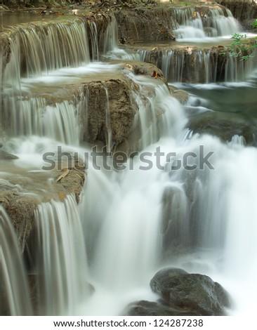 Close up deep forest waterfall at Huay Mae Kamin National Park Kanjanaburi Thailand - stock photo