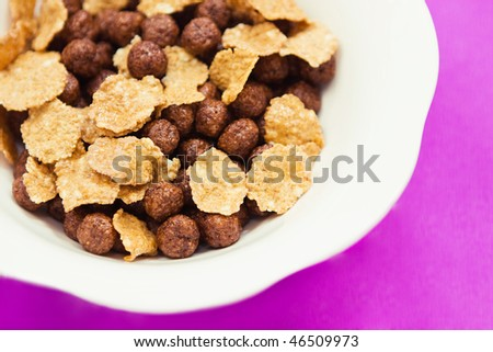 close up delicious cereals for breakfast - stock photo