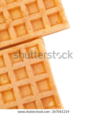 Close - up Delicious sweet waffle on white background