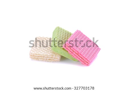 Close up delicious wafer isolated on white background - stock photo