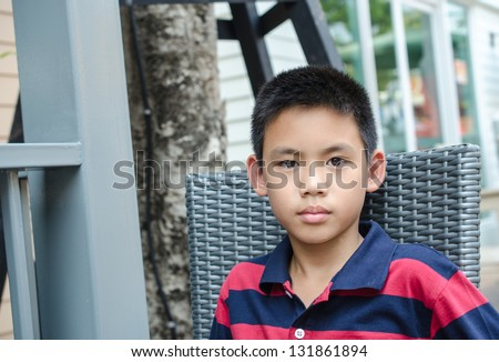 Close up Demeanor of Thailand, Asian begin as wild age boy. (10 - 12 years old)