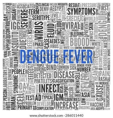 Close up DENGUE FEVER Text at the Center of Word Tag Cloud on White Background.