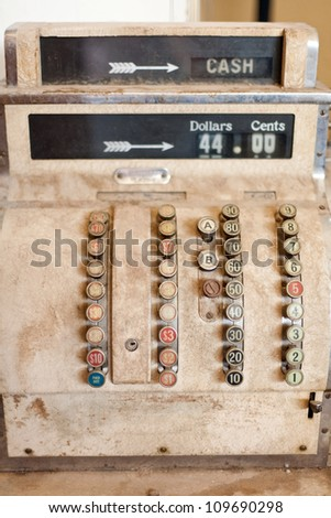 Close up detail of a very old cash register