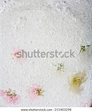 Close up detail of bubbles and shaken liquid water with white and pink flowers submerging under water creating motion and bubbles. Health spa dreamy inspirational artistic floral background texture. - stock photo