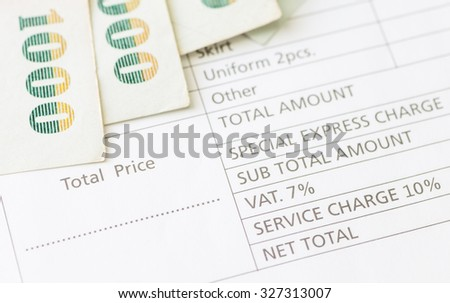 Close - up Detail of Business Document Invoice