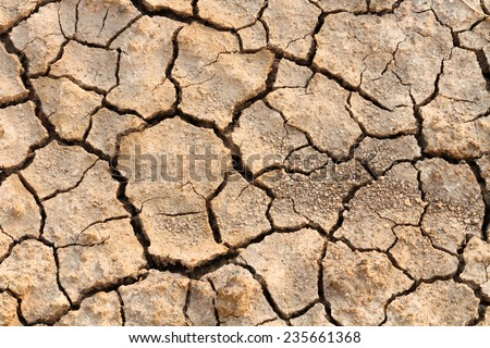 Close up detail of dry crack soil - stock photo