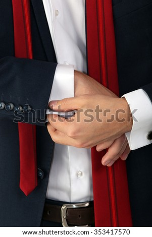close-up detail of male business suit on a white background studio
