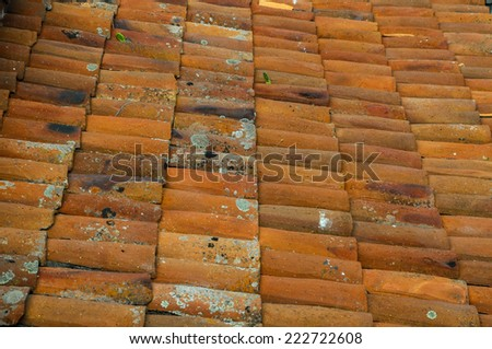 Close up Detail of Old Roof Tiles texture - stock photo