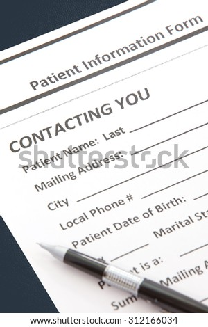 Close - up Detail of Patient information form