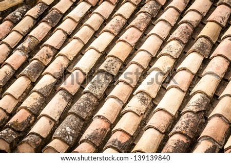 Close up detail of red clay roof tile with leaves and rainwater between rows in perspective view. Construction materials and house building. Abstract backgrounds and wallpapers. - stock photo