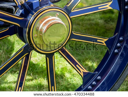 Close up detail of traction engine wheel