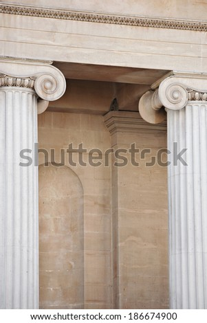 Closeup shot line greekstyle columns stock photo 319633493 for Exterior decorative columns