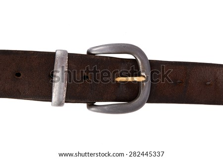 Close up detailed front view of brown tighten leather belt with buckle, isolated on white background.