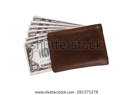 Close up detailed top view of heap of one hundred dollar banknotes under a leather man wallet, isolated on white background.