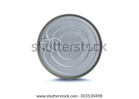 Close up detailed top view of metal grey tin can with ring pull, isolated on white background. - stock photo
