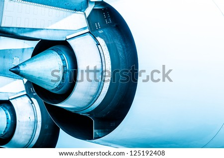 Close up detailed view of airplane engine turbine. - stock photo