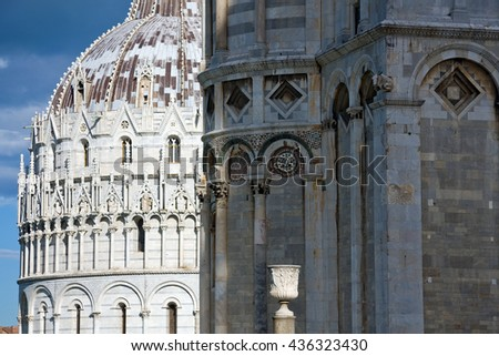 Close up detailed view of Baptistery building in Cathedral Square in Pisa, Tuscany,  Italy - stock photo