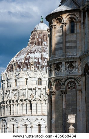 Close up detailed view of Baptistery building in Cathedral Square in Pisa, Tuscany,  Italy,  Europe - stock photo