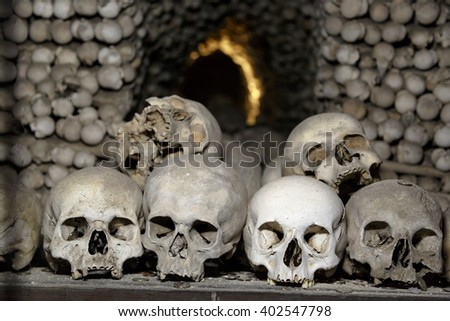 Close up detailed view of Sedlec Ossuary, Church of Bones in Kutna Hora, decorated with real human skeleton bones. - stock photo