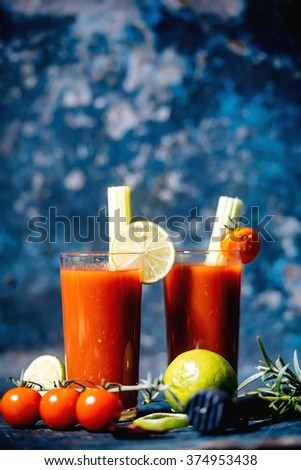 close-up details of bloody mary cocktail served in restaurant and pub - stock photo