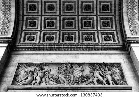Close up details of the base of the Arc de Triomphe in Paris