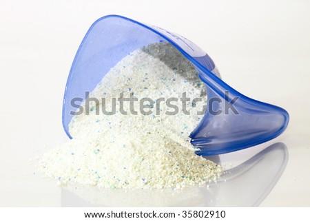 Close-up detergent for laundry washing machine. - stock photo