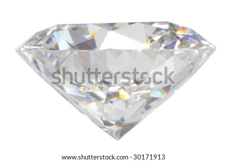 Close-up diamond isolated on white#3 - stock photo