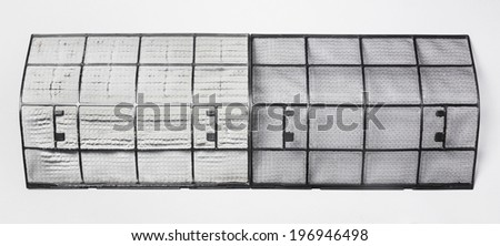 Close up dirty and clean air conditioner filter isolated on gray background - stock photo