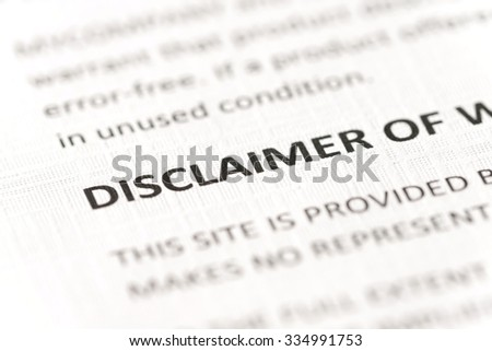 close-up disclaimer title in contract