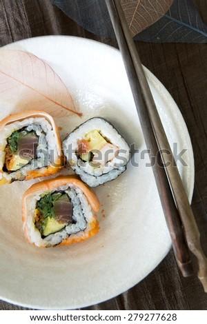 close up dish of japanese dish roll - stock photo
