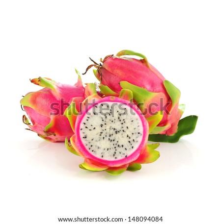 Close up Dragon Fruit on white background - stock photo