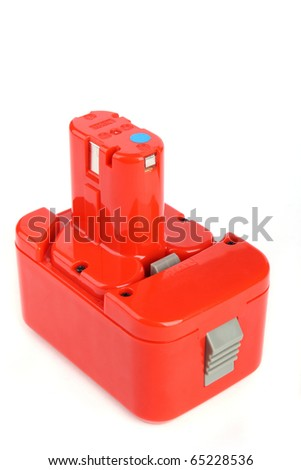 Close up Drill battery isolated on white background