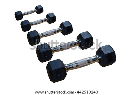 Close up  Dumbbell set on isolate white backgrounds