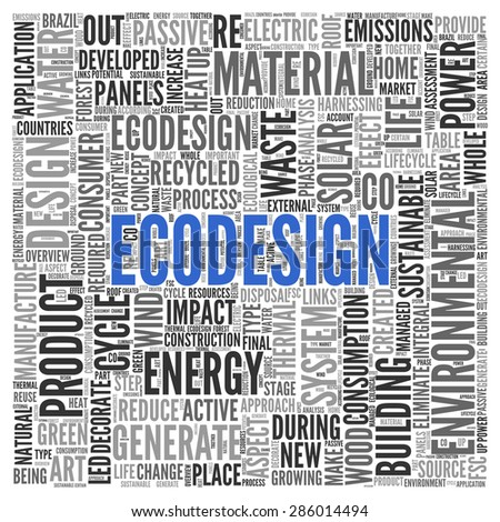 Close up ECODESIGN Text at the Center of Word Tag Cloud on White Background.