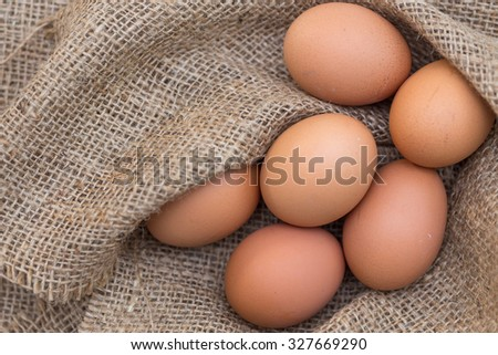 close up eggs  on sack  background
